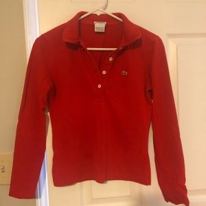 Lacoste long sleeve cerise pull over polo